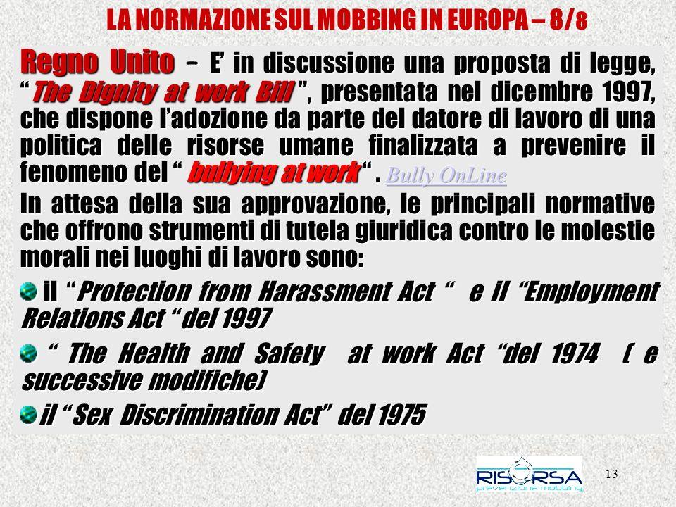 13 LA NORMAZIONE SUL MOBBING IN EUROPA – 8/ 8