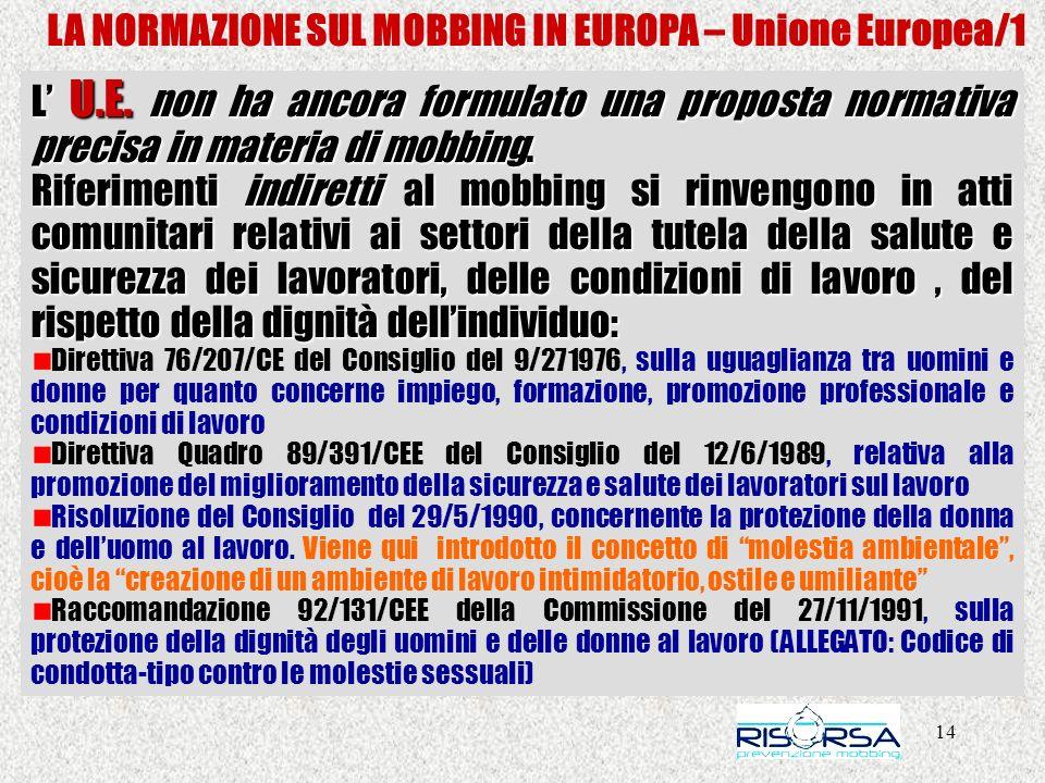 14 LA NORMAZIONE SUL MOBBING IN EUROPA – Unione Europea/1 L U.E. non ha ancora formulato una proposta normativa precisa in materia di mobbing. Riferim