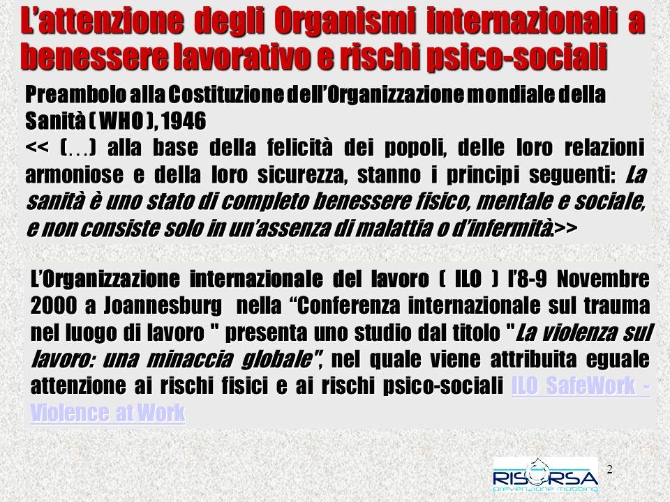 2 Lattenzione degli Organismi internazionali a benessere lavorativo e rischi psico-sociali Preambolo alla Costituzione dellOrganizzazione mondiale del