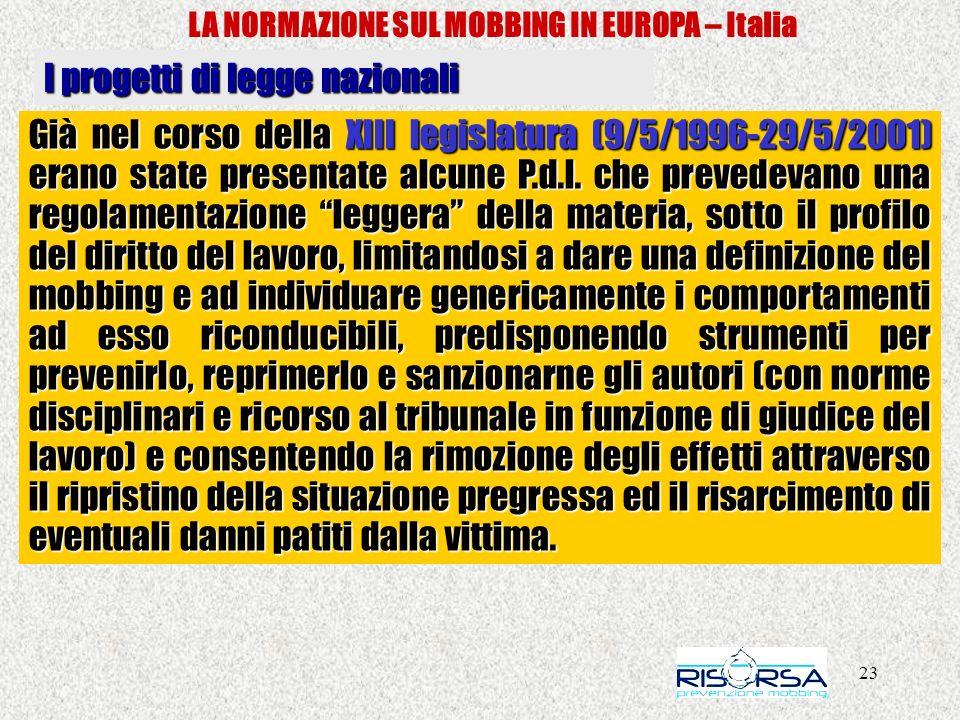 23 LA NORMAZIONE SUL MOBBING IN EUROPA – Italia I progetti di legge nazionali Già nel corso della XIII legislatura (9/5/1996-29/5/2001) erano state presentate alcune P.d.l.