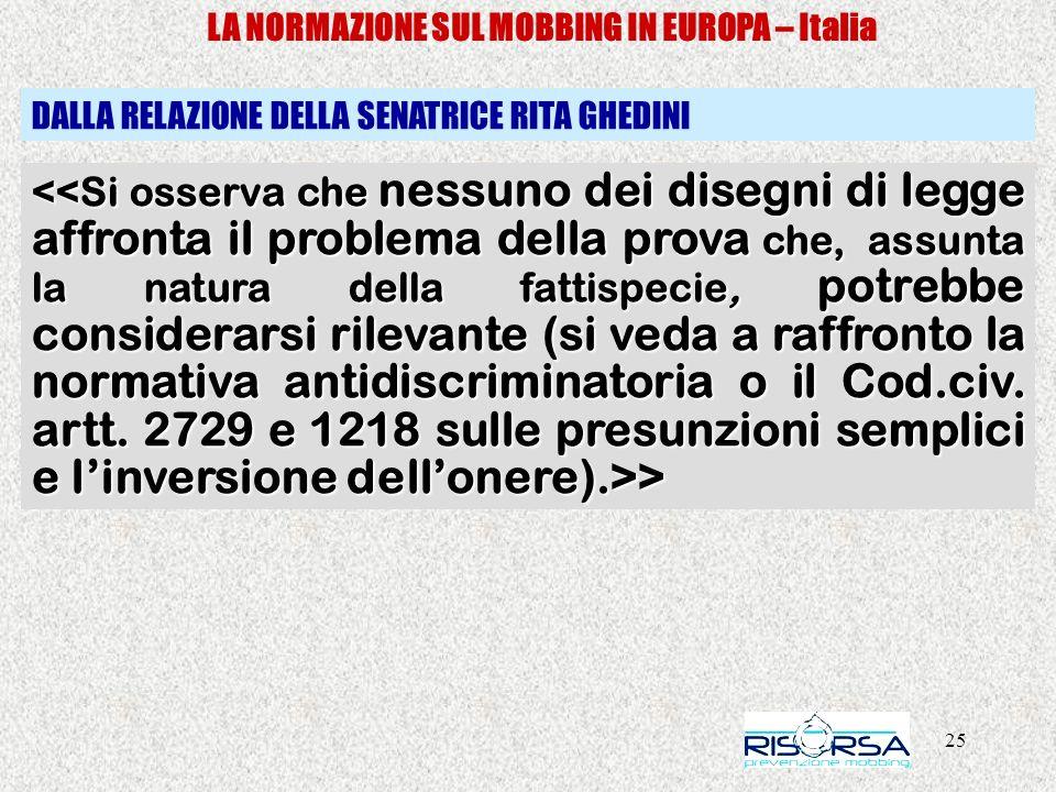 25 LA NORMAZIONE SUL MOBBING IN EUROPA – Italia > > DALLA RELAZIONE DELLA SENATRICE RITA GHEDINI