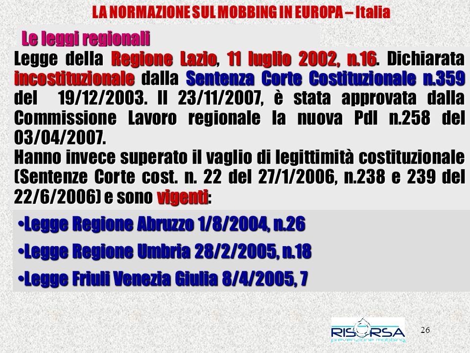 26 LA NORMAZIONE SUL MOBBING IN EUROPA – Italia Le leggi regionali Legge della Regione Lazio, 11 luglio 2002, n.16. Dichiarata incostituzionale dalla