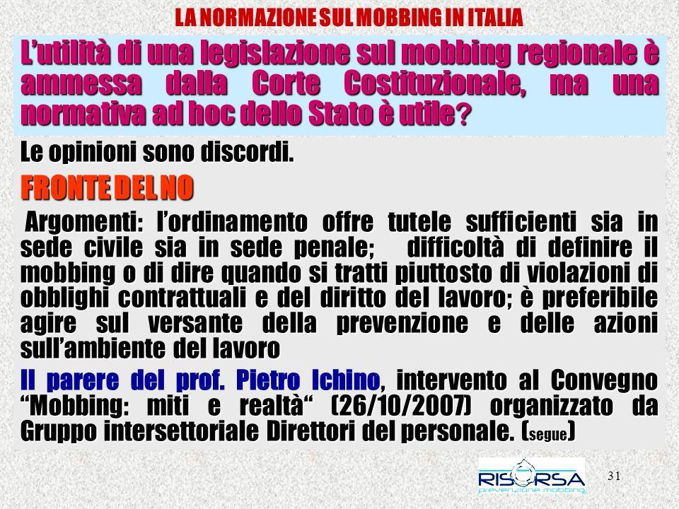31 LA NORMAZIONE SUL MOBBING IN ITALIA Lutilità di una legislazione sul mobbing regionale è ammessa dalla Corte Costituzionale, ma una normativa ad ho