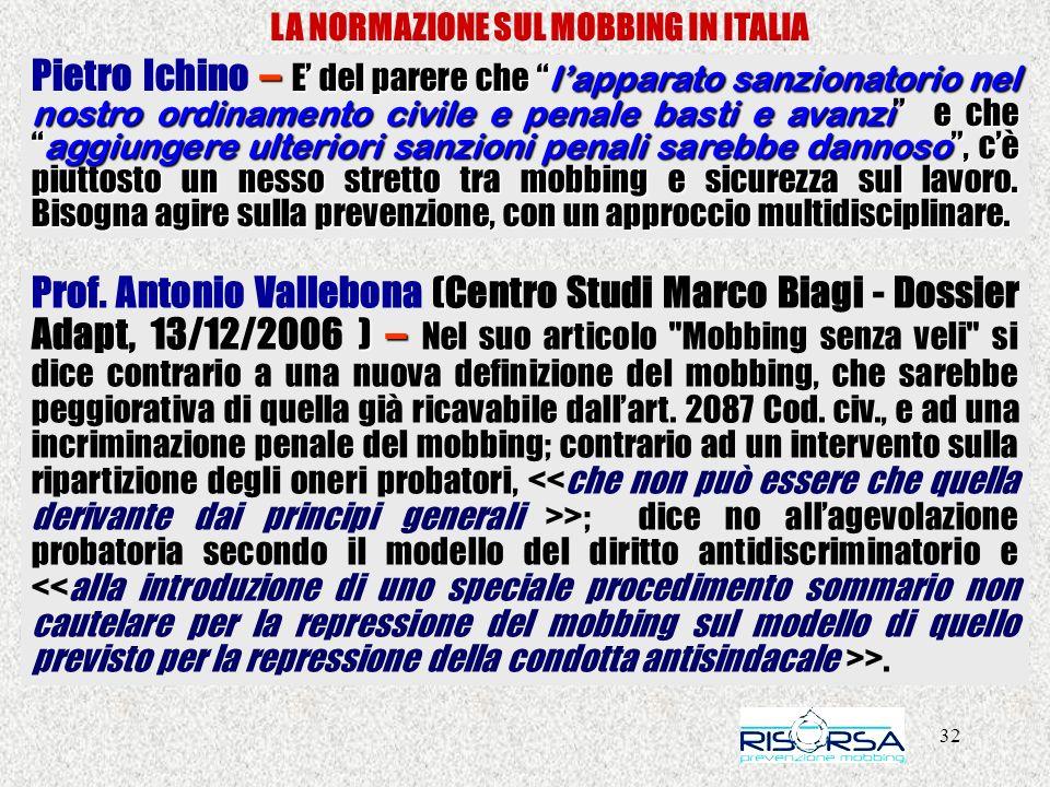 32 LA NORMAZIONE SUL MOBBING IN ITALIA – E del parere che lapparato sanzionatorio nel nostro ordinamento civile e penale basti e avanzi e che aggiunge