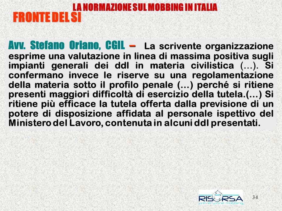 34 LA NORMAZIONE SUL MOBBING IN ITALIA FRONTE DEL SI – Avv. Stefano Oriano, CGIL – La scrivente organizzazione esprime una valutazione in linea di mas