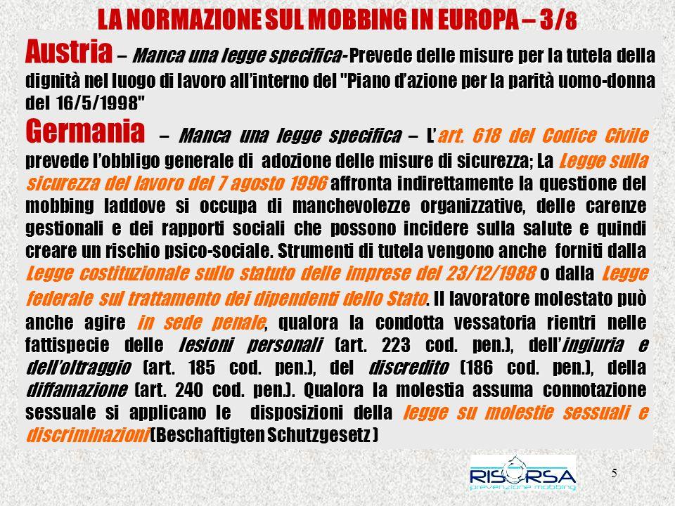 36 LA NORMAZIONE SUL MOBBING IN ITALIA – > ASSOCIAZIONE - PRIMA