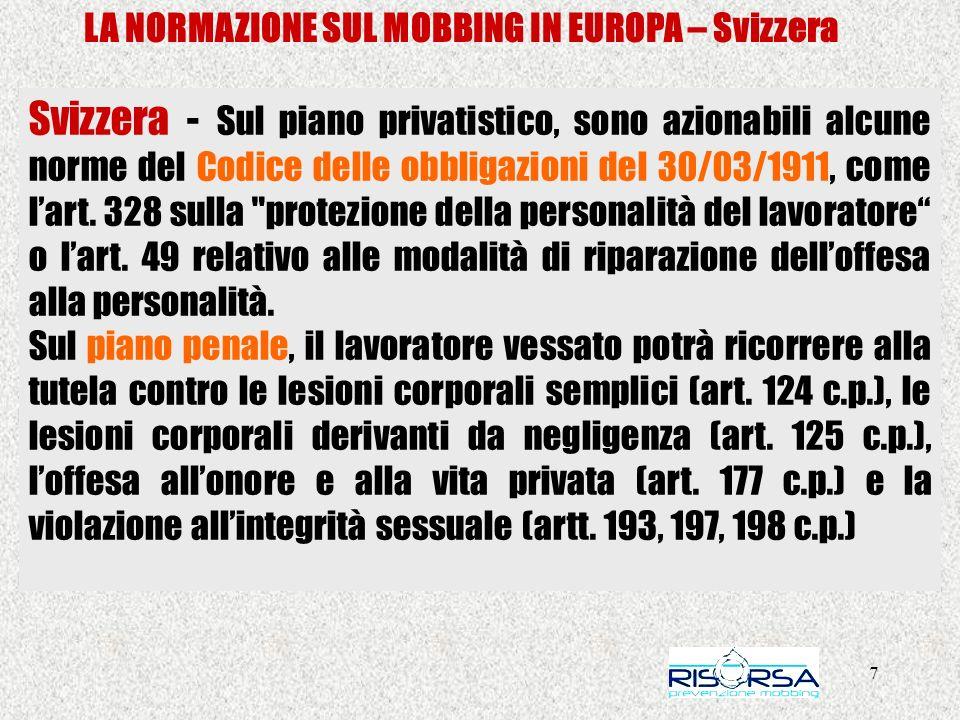 28 LA NORMAZIONE SUL MOBBING IN EUROPA – Italia Le leggi regionali – REGIONE PIEMONTE Il 26 giugno 2008, diniziativa dei Consiglieri Bossuto, Dalmasso, Barassi, Clement, Deambrogio, Moriconi, è stata presentata la Proposta di legge n.556, Il 26 giugno 2008, diniziativa dei Consiglieri Bossuto, Dalmasso, Barassi, Clement, Deambrogio, Moriconi, è stata presentata la Proposta di legge n.556, Azioni per prevenire e contrastare il fenomeno del mobbing e lo stress psicosociale nei luoghi di lavoro.