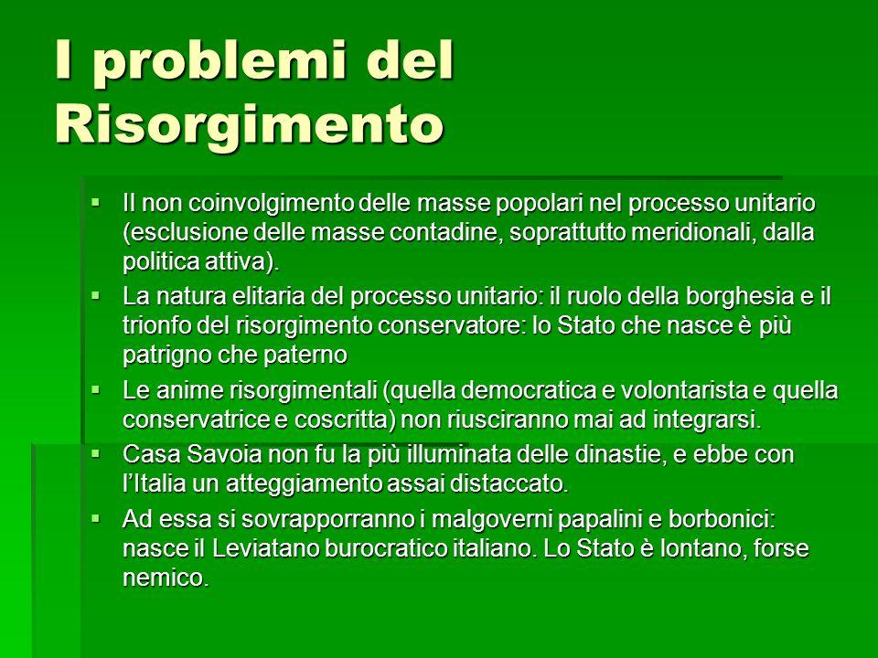 I problemi del Risorgimento Il non coinvolgimento delle masse popolari nel processo unitario (esclusione delle masse contadine, soprattutto meridional