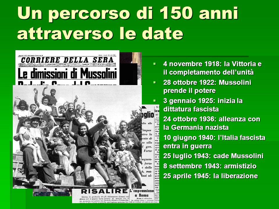 Un percorso di 150 anni attraverso le date 4 novembre 1918: la Vittoria e il completamento dellunità 4 novembre 1918: la Vittoria e il completamento d