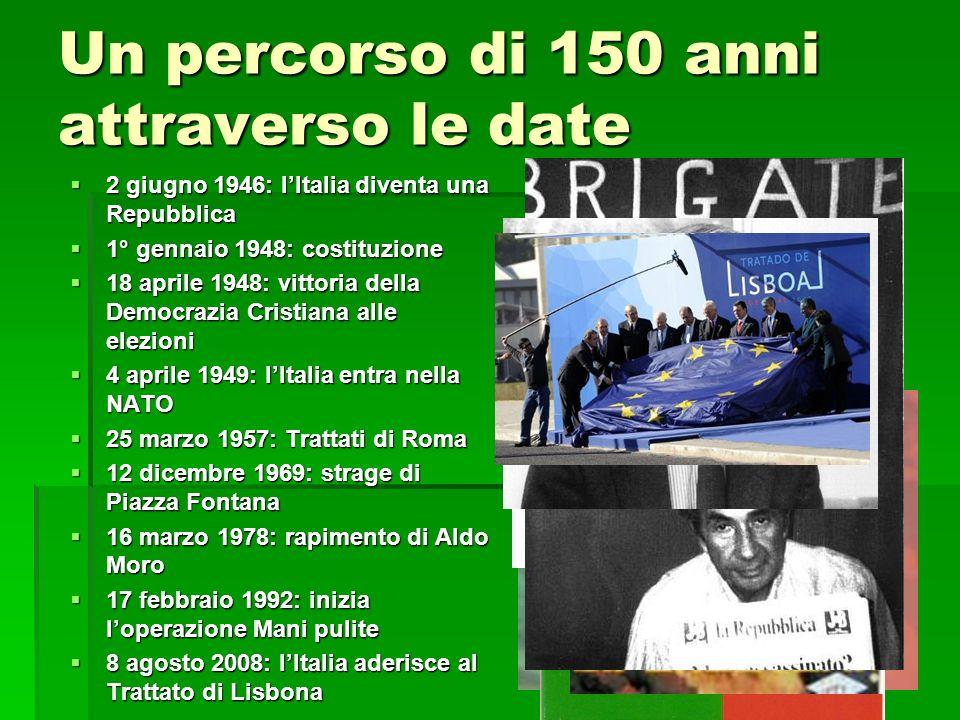 Un percorso di 150 anni attraverso le date 2 giugno 1946: lItalia diventa una Repubblica 2 giugno 1946: lItalia diventa una Repubblica 1° gennaio 1948