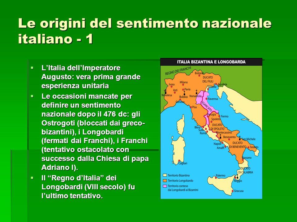 Le origini del sentimento nazionale italiano - 2 Laffermazione franca e la costituzione del Sacro Romano Impero introduce il vassallaggio dellItalia alle potenze straniere.