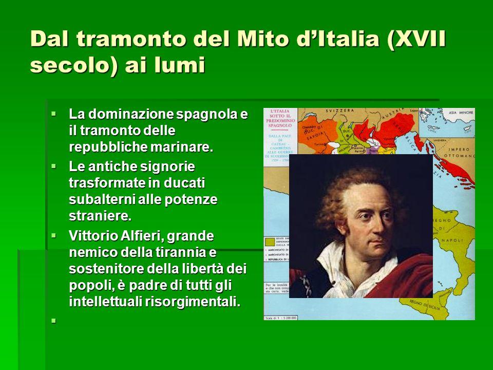 Dal tramonto del Mito dItalia (XVII secolo) ai lumi La dominazione spagnola e il tramonto delle repubbliche marinare. La dominazione spagnola e il tra
