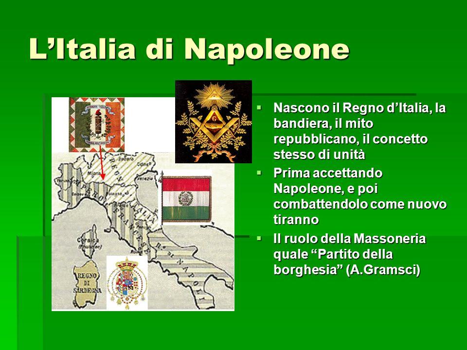 LItalia di Napoleone Nascono il Regno dItalia, la bandiera, il mito repubblicano, il concetto stesso di unità Nascono il Regno dItalia, la bandiera, i