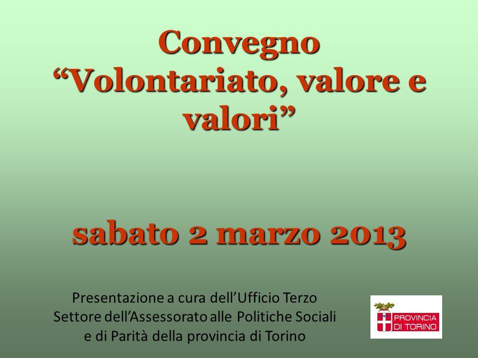 Convegno Volontariato, valore e valori sabato 2 marzo 2013 Presentazione a cura dellUfficio Terzo Settore dellAssessorato alle Politiche Sociali e di Parità della provincia di Torino