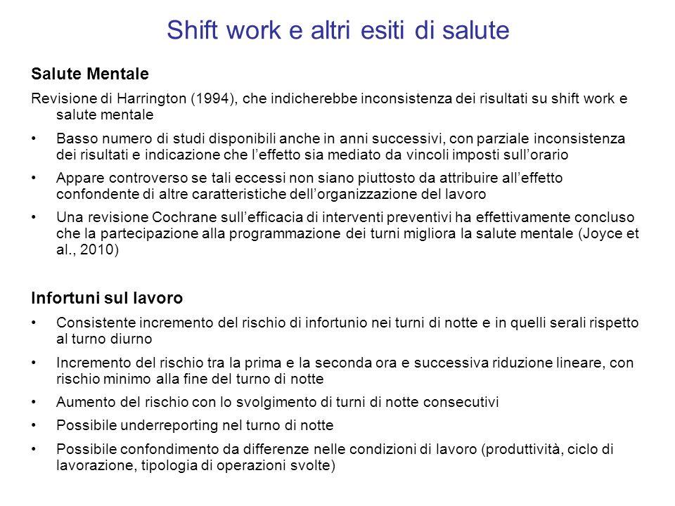 Shift work e altri esiti di salute Salute Mentale Revisione di Harrington (1994), che indicherebbe inconsistenza dei risultati su shift work e salute
