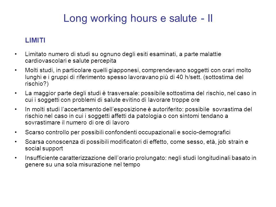 Long working hours e salute - II LIMITI Limitato numero di studi su ognuno degli esiti esaminati, a parte malattie cardiovascolari e salute percepita