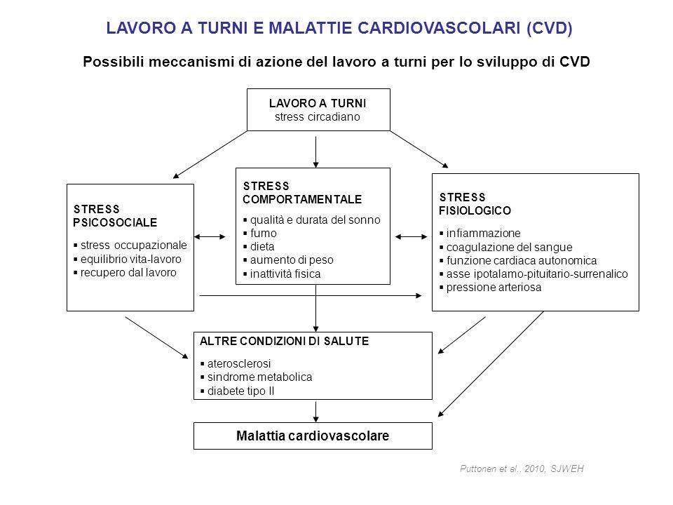 Possibili meccanismi di azione del lavoro a turni per lo sviluppo di CVD LAVORO A TURNI stress circadiano STRESS PSICOSOCIALE stress occupazionale equ