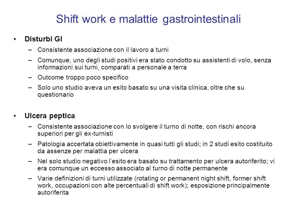 Shift work e malattie gastrointestinali Disturbi GI –Consistente associazione con il lavoro a turni –Comunque, uno degli studi positivi era stato cond