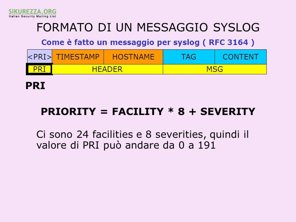 FORMATO DI UN MESSAGGIO SYSLOG Come è fatto un messaggio per syslog ( RFC 3164 ) TIMESTAMPHOSTNAMETAGCONTENT PRI HEADERMSG PRI PRIORITY = FACILITY * 8