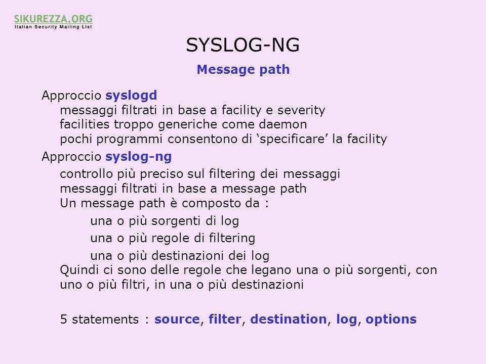 SYSLOG-NG Message path Approccio syslogd messaggi filtrati in base a facility e severity facilities troppo generiche come daemon pochi programmi conse