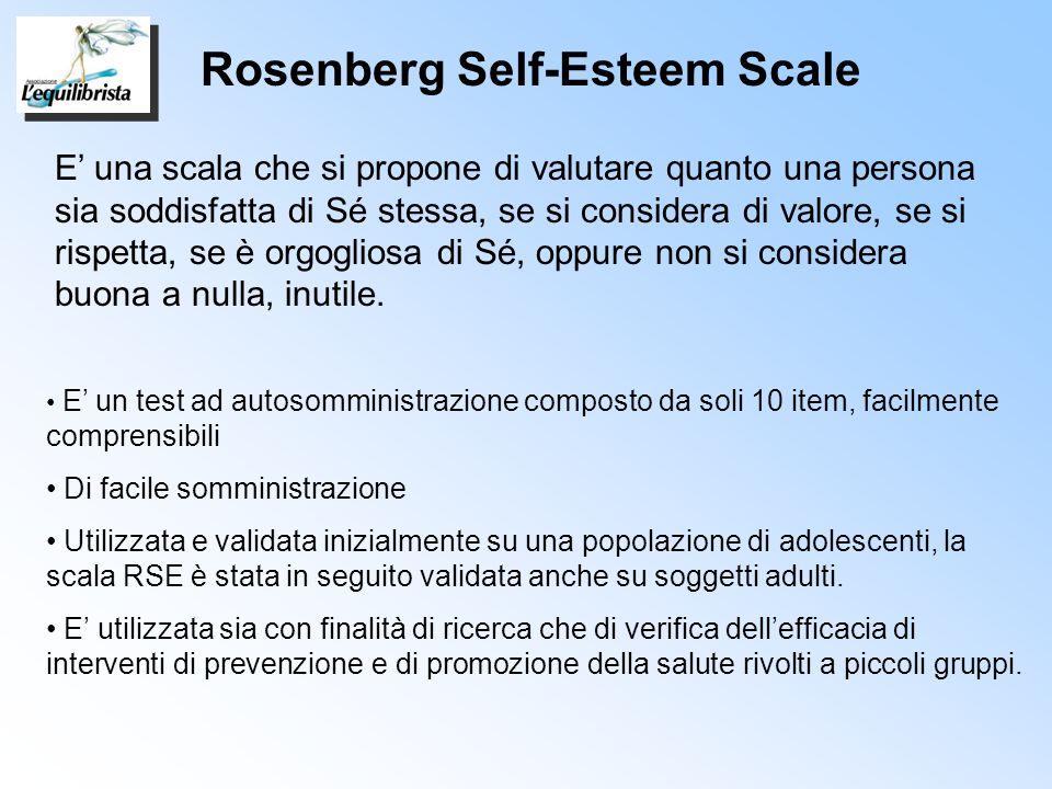 E una scala che si propone di valutare quanto una persona sia soddisfatta di Sé stessa, se si considera di valore, se si rispetta, se è orgogliosa di