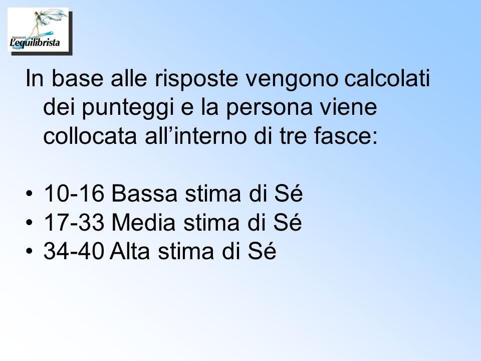 In base alle risposte vengono calcolati dei punteggi e la persona viene collocata allinterno di tre fasce: 10-16 Bassa stima di Sé 17-33 Media stima d