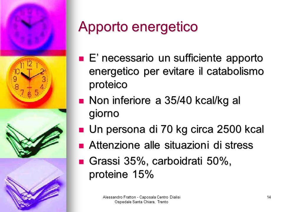 Alessandro Fratton - Caposala Centro Dialisi Ospedale Santa Chiara, Trento 14 Apporto energetico E necessario un sufficiente apporto energetico per ev