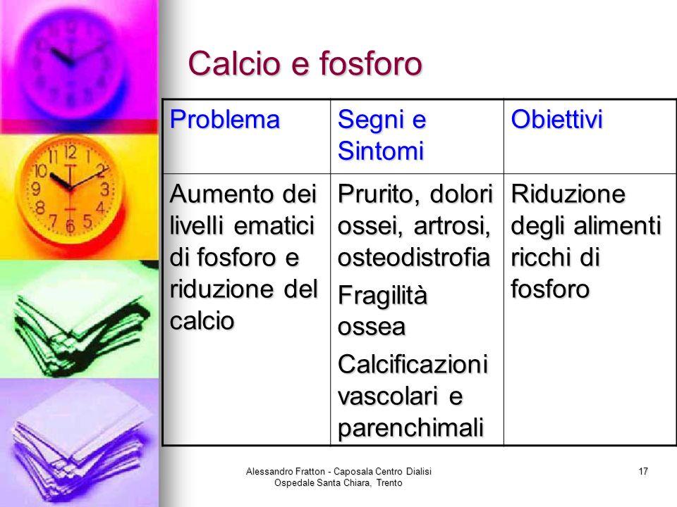 Alessandro Fratton - Caposala Centro Dialisi Ospedale Santa Chiara, Trento 17 Calcio e fosforo Problema Segni e Sintomi Obiettivi Aumento dei livelli