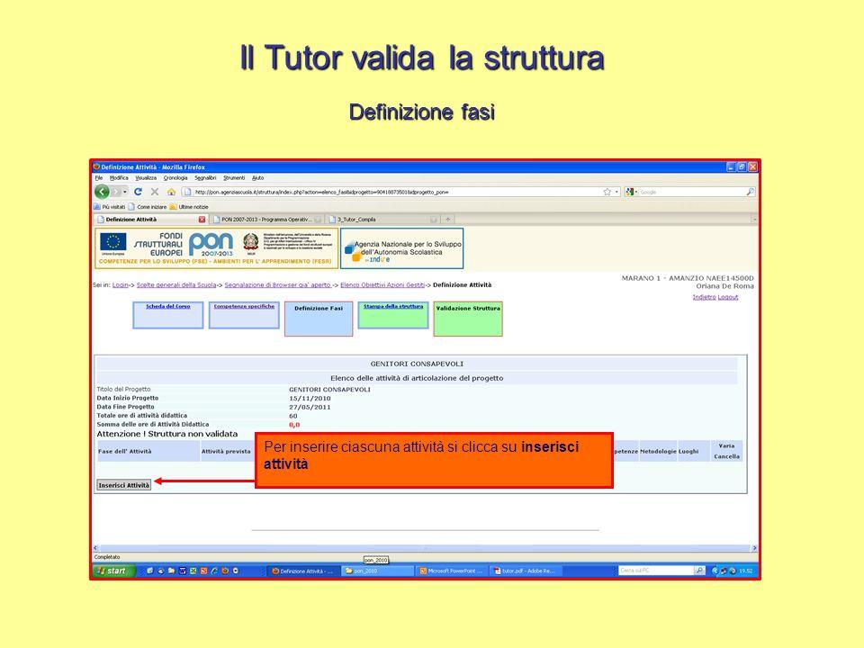 Il Tutor valida la struttura Definizione fasi Per inserire ciascuna attività si clicca su inserisci attività