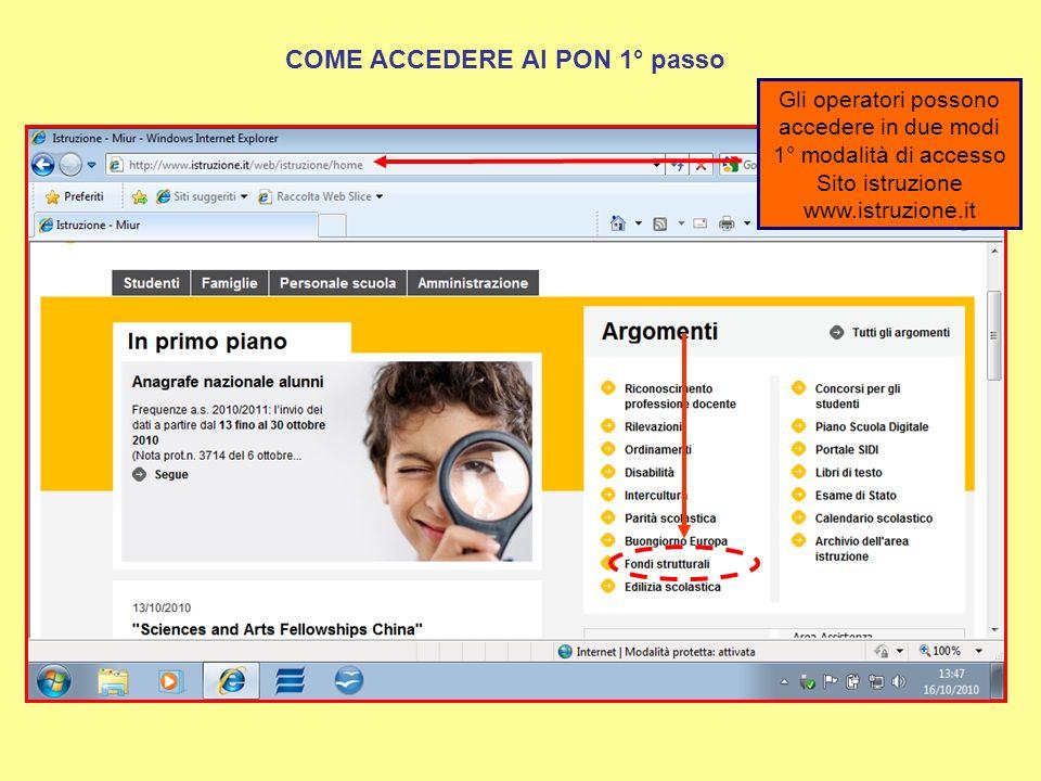 2° modalità di accesso Sito ex INDIRE Cliccando sul link Pon 2007- 2013