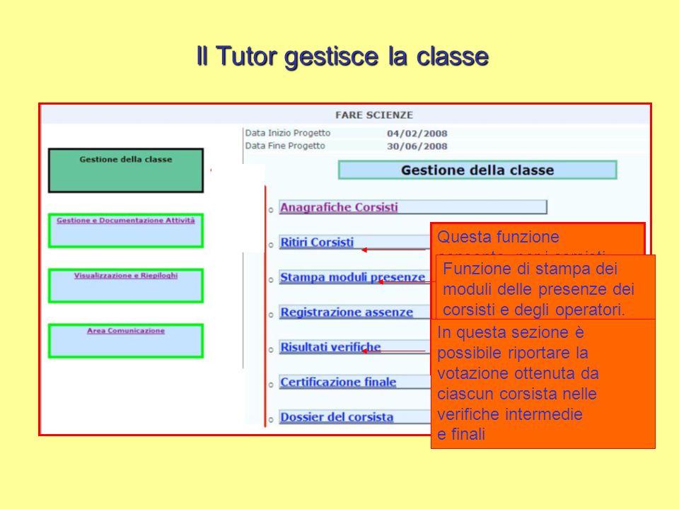 Il Tutor gestisce la classe Questa funzione consente, per i corsisti costretti a lasciare il percorso in itinere, la registrazione della data e del mo