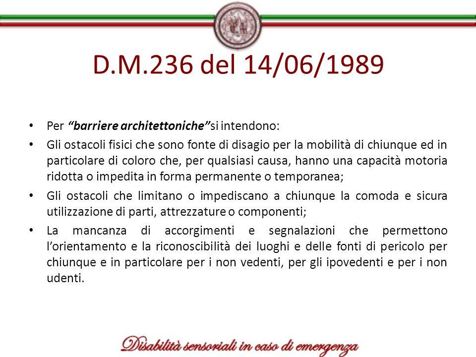 D.M.236 del 14/06/1989 Per barriere architettonichesi intendono: Gli ostacoli fisici che sono fonte di disagio per la mobilità di chiunque ed in parti