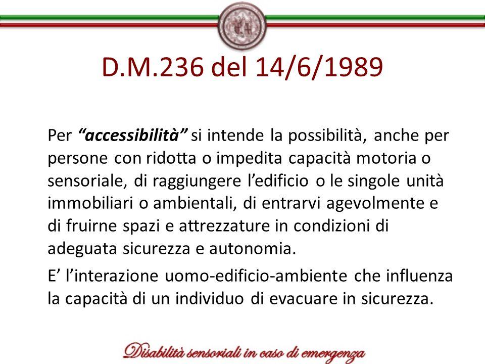 D.M.236 del 14/6/1989 Per accessibilità si intende la possibilità, anche per persone con ridotta o impedita capacità motoria o sensoriale, di raggiung