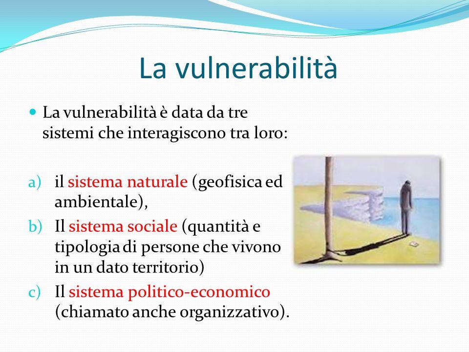 La vulnerabilità La vulnerabilità è data da tre sistemi che interagiscono tra loro: a) il sistema naturale (geofisica ed ambientale), b) Il sistema sociale (quantità e tipologia di persone che vivono in un dato territorio) c) Il sistema politico-economico (chiamato anche organizzativo).