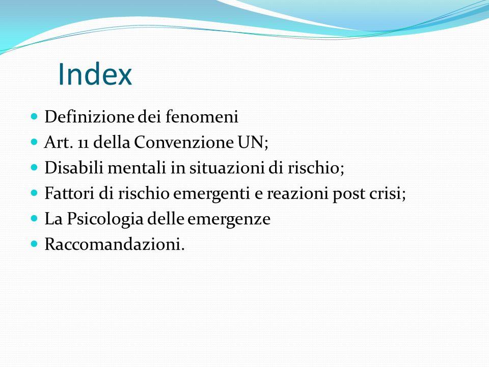 Index Definizione dei fenomeni Art.