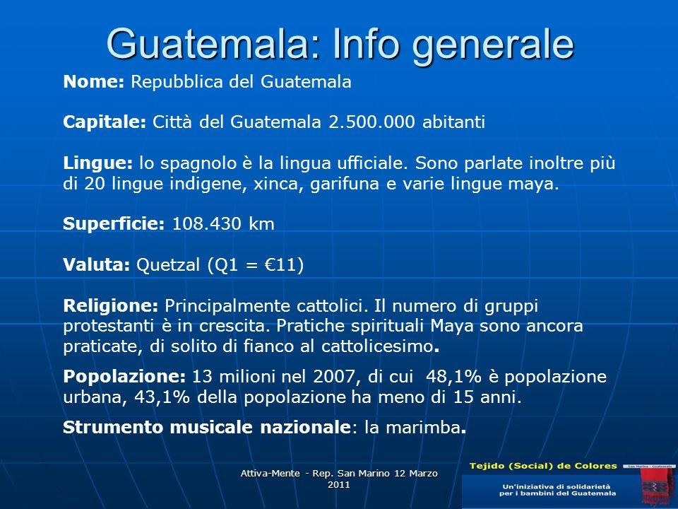Guatemala: Info generale Nome: Repubblica del Guatemala Capitale: Città del Guatemala 2.500.000 abitanti Lingue: lo spagnolo è la lingua ufficiale.