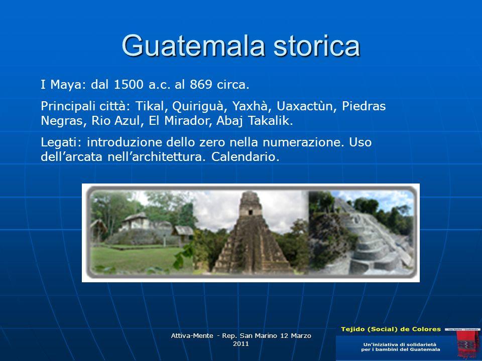 Attiva-Mente - Rep.San Marino 12 Marzo 2011 Guatemala storica I Maya: dal 1500 a.c.