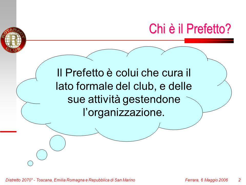 2 Ferrara, 6 Maggio 2006 Chi è il Prefetto? Il Prefetto è colui che cura il lato formale del club, e delle sue attività gestendone lorganizzazione.