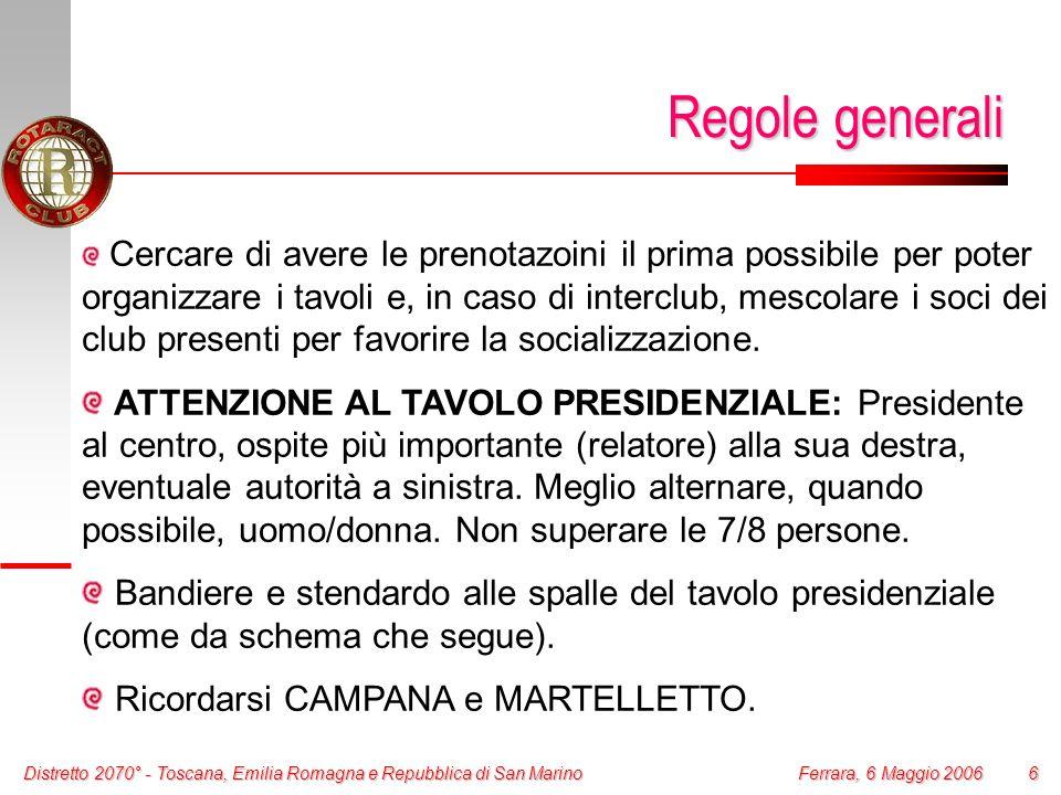 Distretto 2070° - Toscana, Emilia Romagna e Repubblica di San Marino 6 Ferrara, 6 Maggio 2006 Regole generali Cercare di avere le prenotazoini il prim