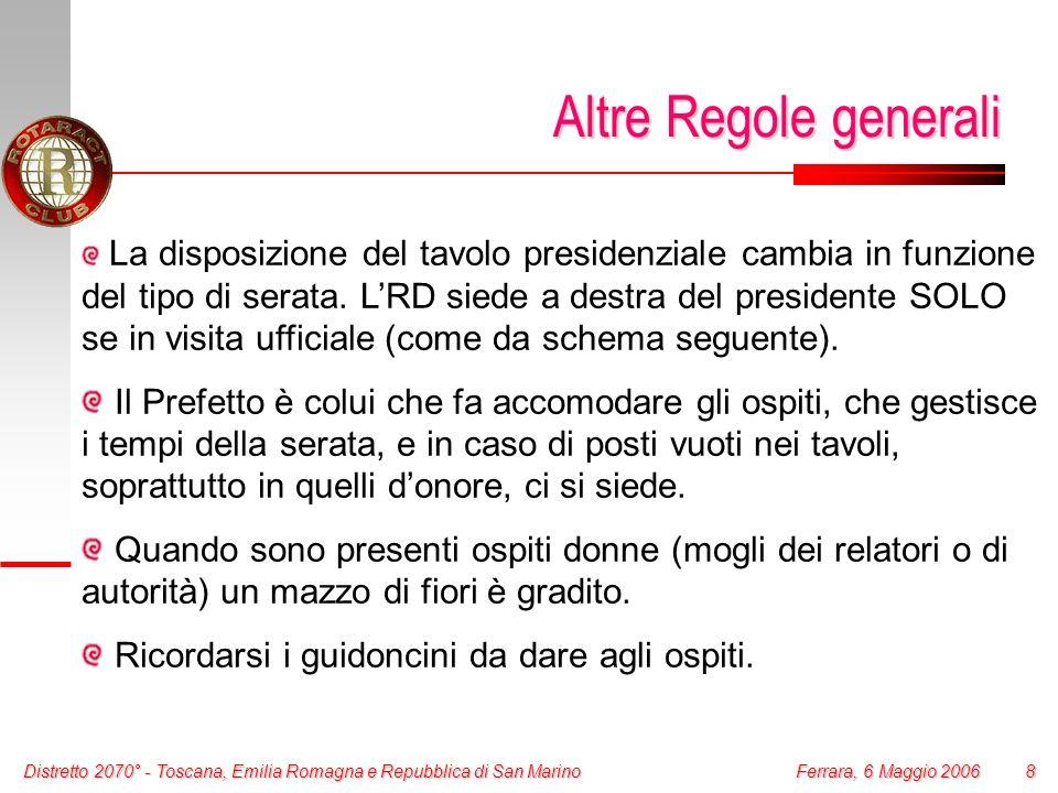 Distretto 2070° - Toscana, Emilia Romagna e Repubblica di San Marino 8 Ferrara, 6 Maggio 2006 Altre Regole generali La disposizione del tavolo preside