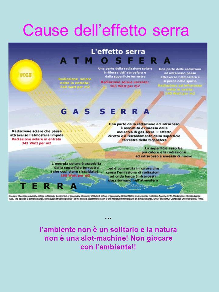 Cause delleffetto serra … lambiente non è un solitario e la natura non è una slot-machine! Non giocare con lambiente!!