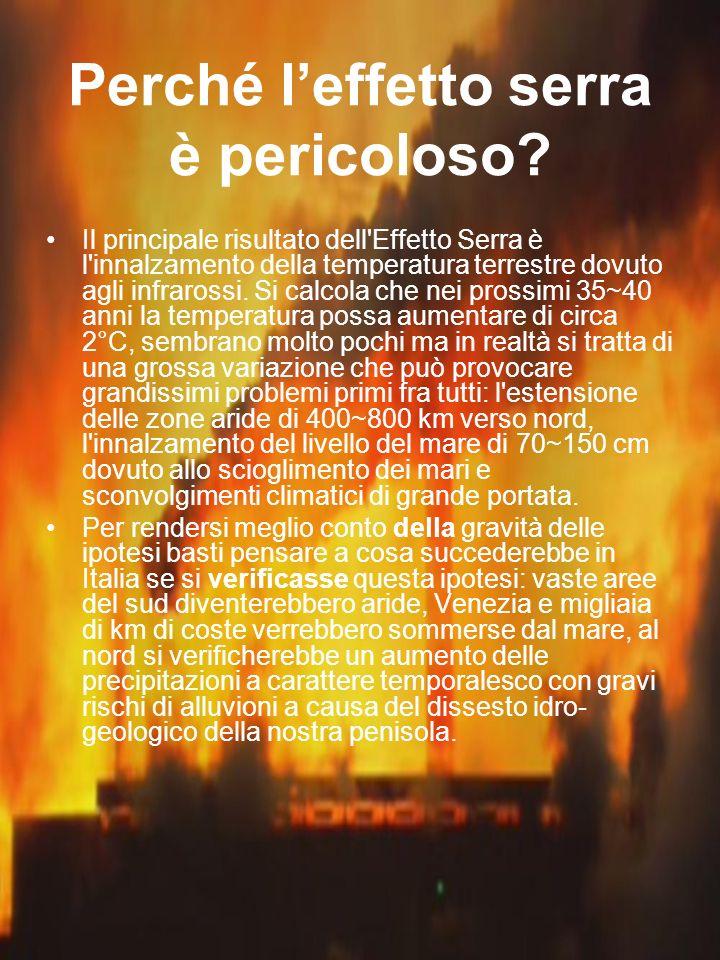 Perché leffetto serra è pericoloso? Il principale risultato dell'Effetto Serra è l'innalzamento della temperatura terrestre dovuto agli infrarossi. Si