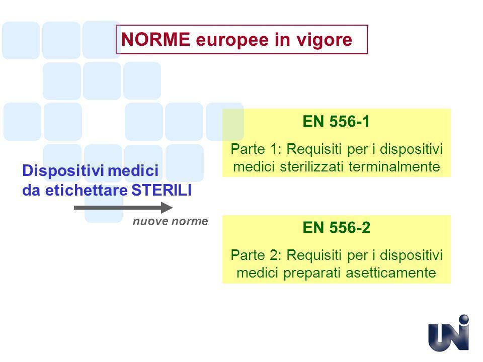 NORME europee in vigore EN 556-2 Parte 2: Requisiti per i dispositivi medici preparati asetticamente EN 556-1 Parte 1: Requisiti per i dispositivi med