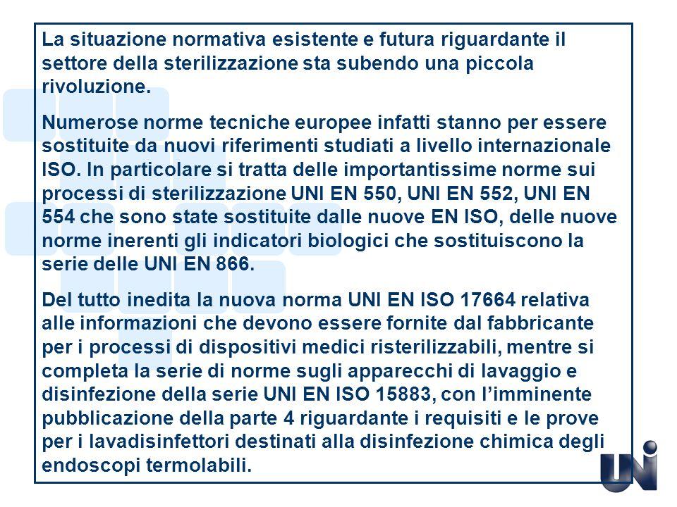 2007 2009 2010 2011 4 2008 EN ISO 17665-1 EN 554:1996 norme europee tempo LEGENDA : Periodo di Applicazione Opzionale In vigore G.
