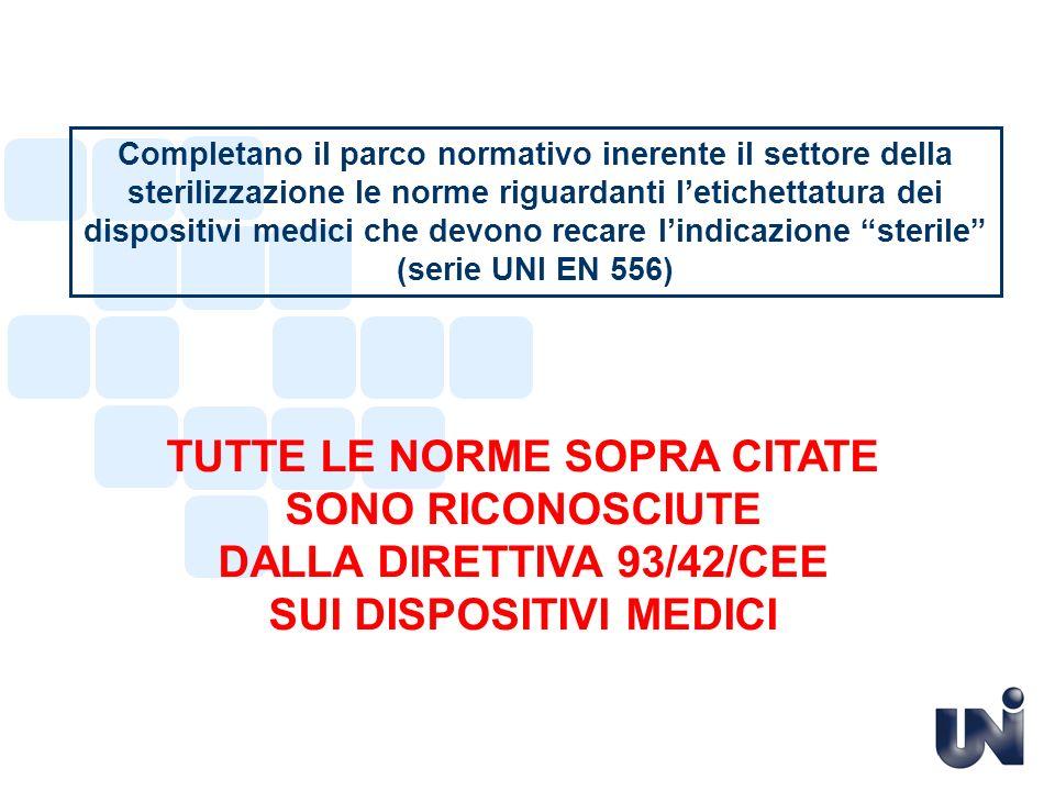 NORME europee in vigore EN ISO 17665-1 Sterilizzazione dei prodotti sanitari – Calore umido - Parte 1: Requisiti per lo sviluppo, convalida e il controllo di routine di un processo di sterilizzazione per dispositivi medici EN 550:1996 sostituita da EN ISO 11135-1 Sterilizzazione dei prodotti sanitari – Ossido di etilene - Parte 1: Requisiti per lo sviluppo, la convalida e il controllo sistematico dei processi di sterilizzazione per dispositivi medici EN 554:1996 sostituita da