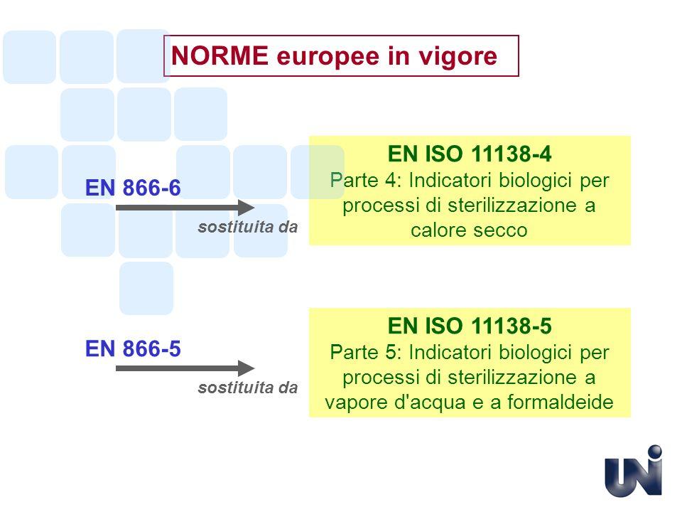 NORME europee in vigore EN ISO 11138-5 Parte 5: Indicatori biologici per processi di sterilizzazione a vapore d'acqua e a formaldeide EN 866-5 EN ISO