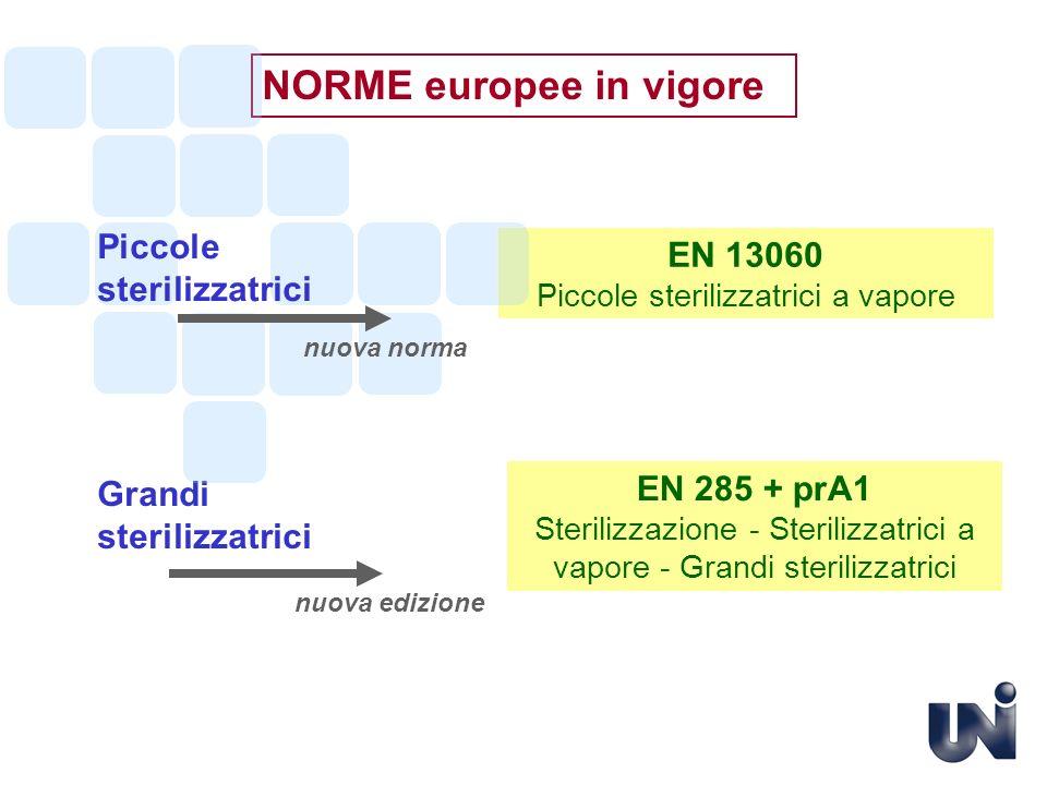 NORME europee in vigore EN 285 + prA1 Sterilizzazione - Sterilizzatrici a vapore - Grandi sterilizzatrici Grandi sterilizzatrici EN 13060 Piccole ster