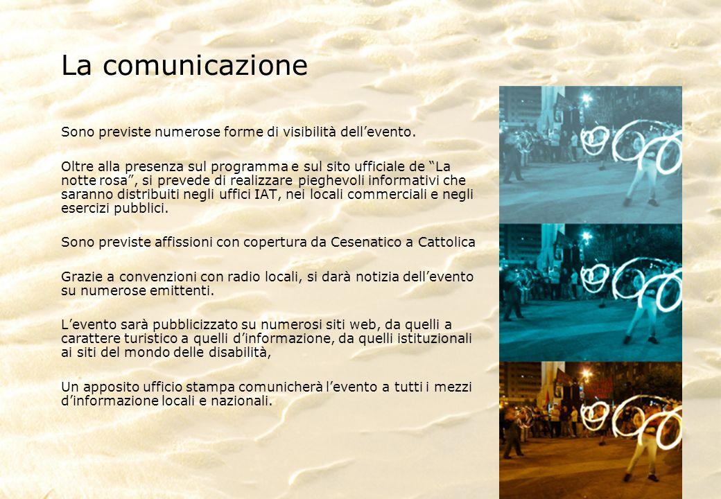 La comunicazione Sono previste numerose forme di visibilità dellevento.