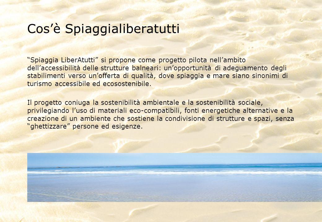 Cosè Spiaggialiberatutti Spiaggia LiberAtutti si propone come progetto pilota nellambito dellaccessibilità delle strutture balneari: unopportunità di adeguamento degli stabilimenti verso unofferta di qualità, dove spiaggia e mare siano sinonimi di turismo accessibile ed ecosostenibile.