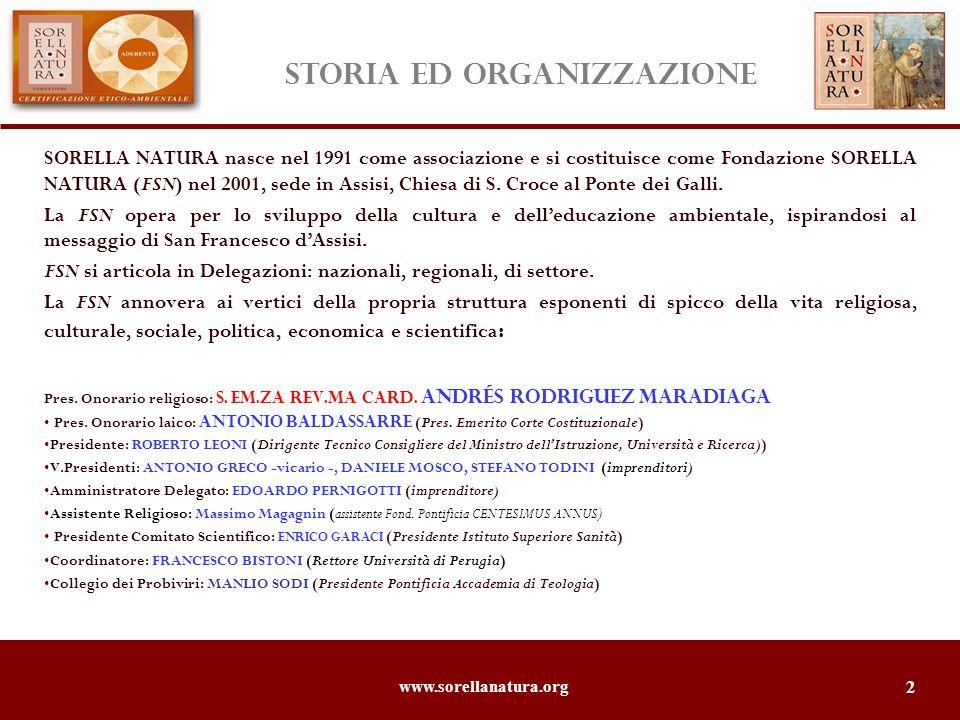 www.sorellanatura.org 2 STORIA ed organizzazione SORELLA NATURA nasce nel 1991 come associazione e si costituisce come Fondazione SORELLA NATURA (FSN) nel 2001, sede in Assisi, Chiesa di S.